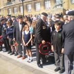 Preparing for wreath laying
